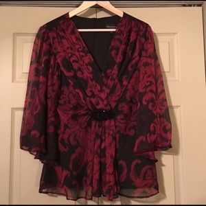 Connected Apparel Black & Red Blouse | Size 10